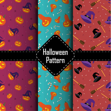 Halloween vector patterns. Endless texture can be used for wallpaper, pattern fills, web page,background. Vector illustration.