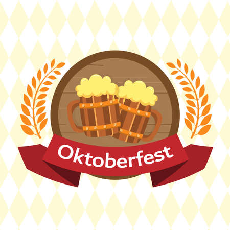 Oktoberfest party poster illustration with fresh  beer .  celebration  template for traditional German beer. vector  illustration.