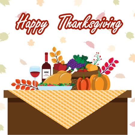 Vector illustration of a big banquet table with drinks and eating fruit. Festive holiday dinner. Flat style. Table for Thanksgiving Day.