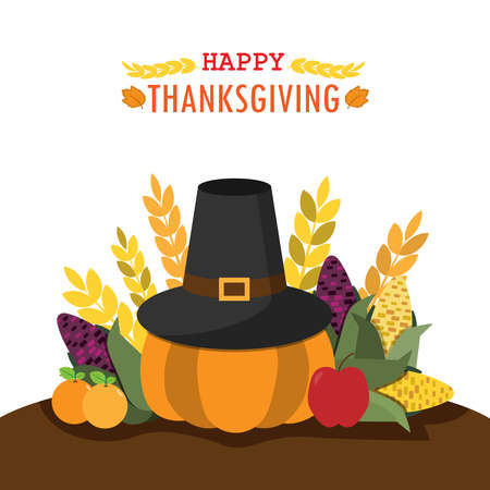 Vector Illustration of a Happy Thanksgiving Celebration Design with harvest vegetable is pumpkin,corn,rice,apple and orange . set wallpaper happy thanksgiving. Illustration