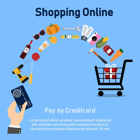 Online shopping concept .payment by credit card. vector illustration. Can be used for banner, marketing,shopping, infographics.