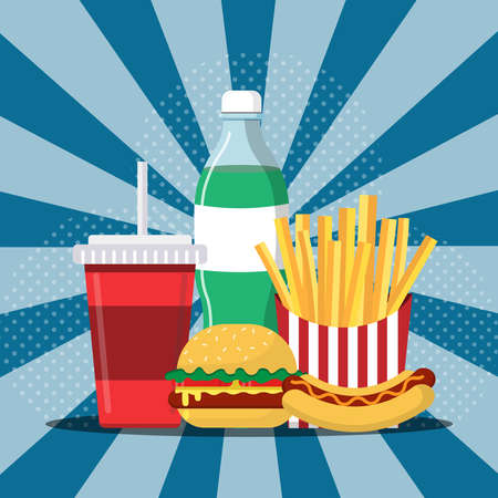 Food and Drink.Simple Burger,coke,Hot Dog and french fries. Can be used for ads or in shop banner.