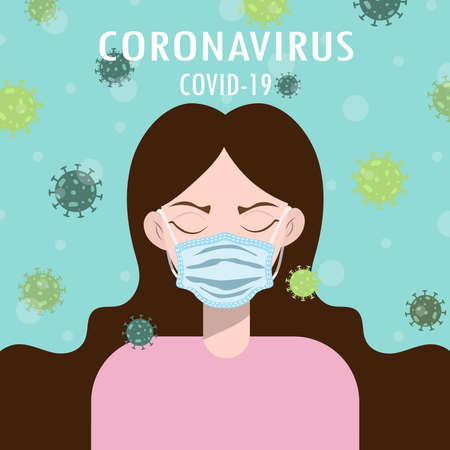 Illustration with coronavirus concept.This woman is wearing a mask To prevent germs.