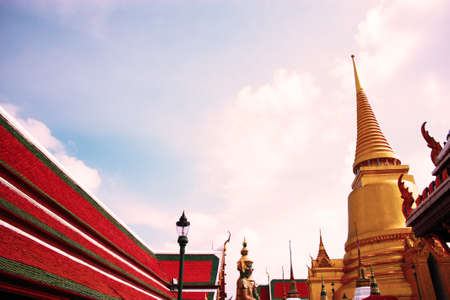 the morning sky of Thai Buddhist temple photo