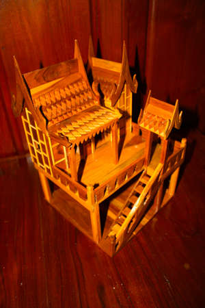 gold teakwood: Thai house model