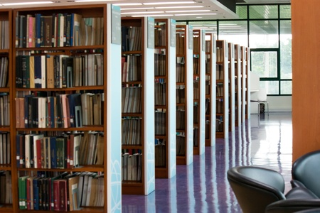 book racks: NIDA electronic library-July 2012-bookshelf with the book in the library Editorial