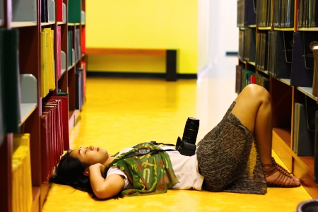 shootting: camera girl lay down in the library alone