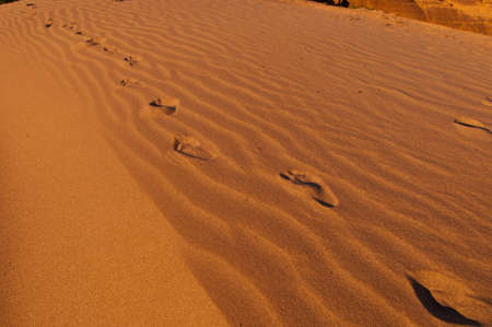 absent: Foot print on the sand in desert Stock Photo