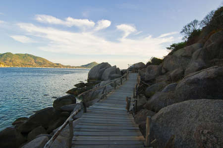 A wooden path to the beach photo