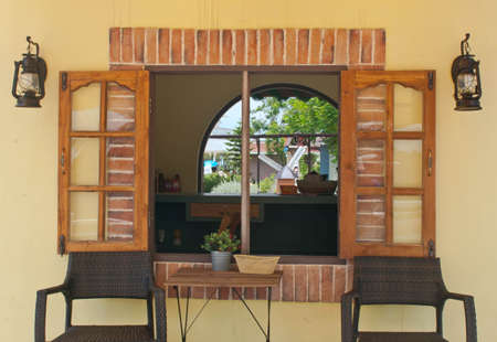 shop window: Wooden window of the shop in the farm Stock Photo