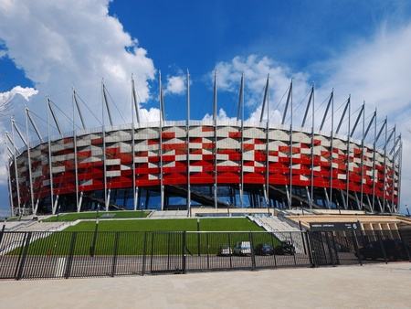 NATIONAL STADIUM IN WARSAW, POLAND - APRIL 21: Warsaw National Stadium on April 21, 2012. The National Stadium will host the opening match of the UEFA Euro 2012.
