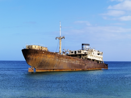 Shipwreck near Costa Teguise, Lanzarote, Canary Islands, Spain Stock Photo - 13795796