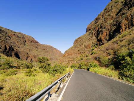 gully: Barranco de Guayadeque, Barranco de Gran Canaria, Islas Canarias, Espa�a Foto de archivo