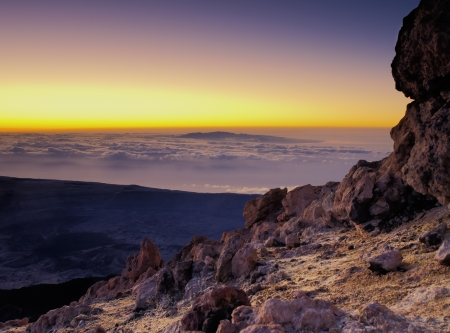 Sunrise on Teide(Gran Canaria in the background), Canary Islands, Spain Stock Photo - 13804562