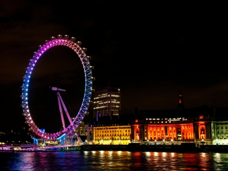 water wheel: London Eye In Night