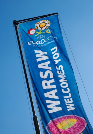 EURO 2012 BANNER IN WARSAW, POLAND - JUNE 7: Warsaw on June 7, 2012. Warsaw will host the opening match of the UEFA Euro 2012.