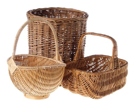 Wicker Baskets, studio isolated photo photo