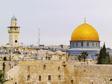 Wailing Wall and Al Aqsa Mosque, Jerusalem, Israel  photo