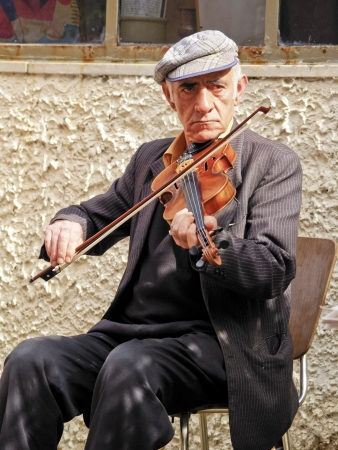 Jewish Violinist on the street of Tel Aviv, Israel