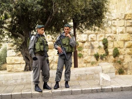 Officers on the street of Jerusalem, Israel