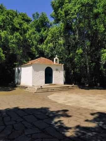 vallehermoso: Chapel(Ermita de Lourdes), Garajonay National Park, La Gomera, Canary Islands Stock Photo