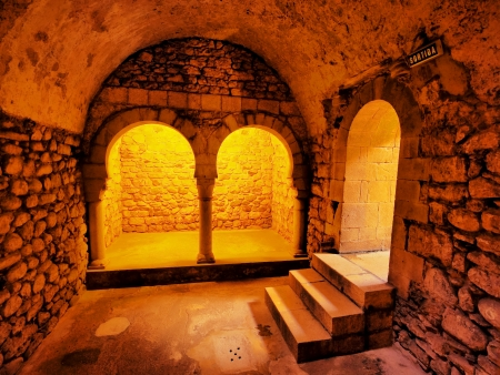 Arab Baths - the romanesque building, which imitated the structure of the moslem baths in Girona, Catalonia, Spain.