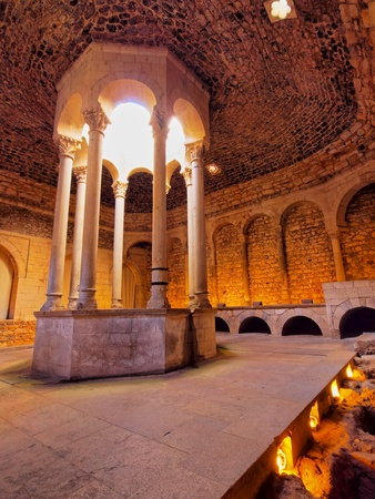 Arab Baths - the romanesque building, which imitated the structure of the moslem baths in Girona, Catalonia, Spain. Stock Photo - 19256613