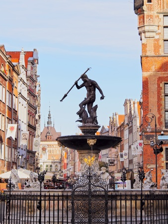 Fountain of Neptune on the Dlugi Targ Street in Gdansk, Poland photo