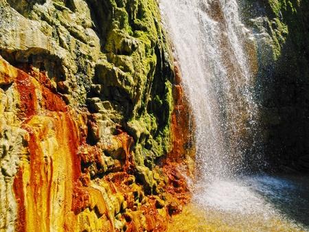 caldera: Cascada de los Colores in Caldera de Taburiente National Park on la Plama, Canary Islands, Spain