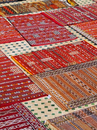 Typical Moroccan Carpets on the roof terrace in Fes, Morocco, Africa photo