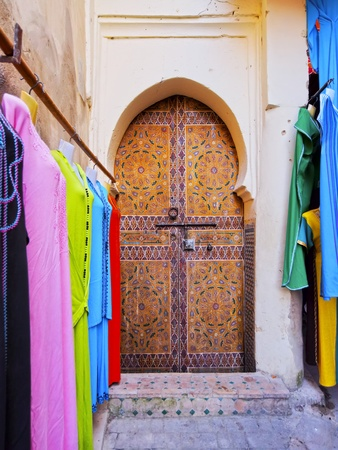 Typical moroccan door in the old medina of Fes, Morocco, Africa photo