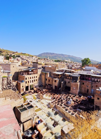 Famous Tannery inside the old medina in Fes, Morocco, Africa Stock Photo - 22031356