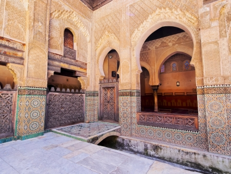 The Bou Inania Madrasa built by the Marinid sultan Abu Inan Faris in 1351 in the old medina of Fes, Morocco, Africa 版權商用圖片