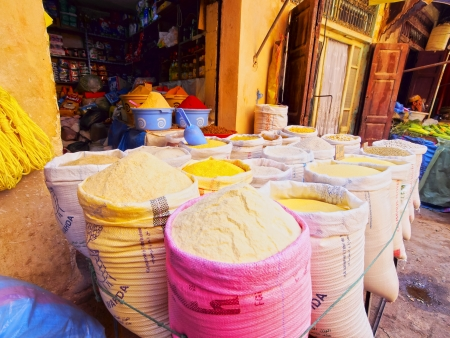 Typical street market in the old medina of Fes, Morocco, Africa photo
