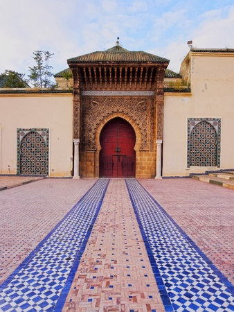 Entrance of the Sultan Moulay Ismail Mausoleum in Meknes, Morocco, Africa photo