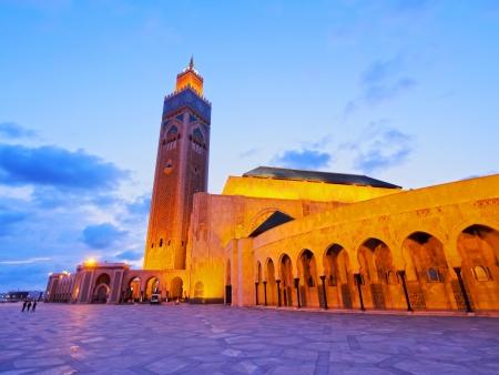 Night view of Hassan II Mosque in Casablanca, Morocco, Africa 写真素材