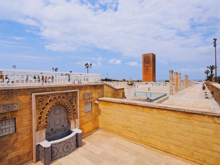 Hassan Tower - minaret of an incomplete mosque in Rabat, Morocco, Africa photo