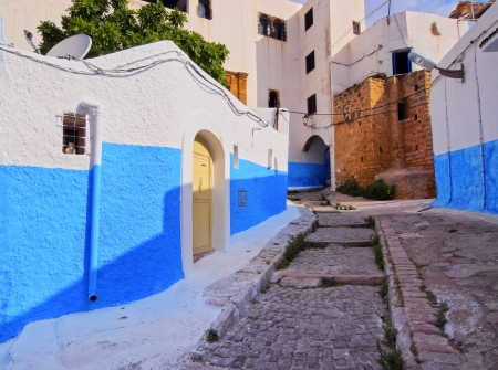 Colorful street of the Kasbah of the Udayas in Rabat, Morocco, Africa photo