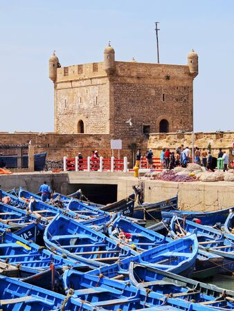 Blue Fishing boats in Essaouira, Portuguese town in Morocco, Africa