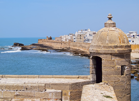 Skala du Port- fortifications in port of Essaouira, Morocco, Africa photo