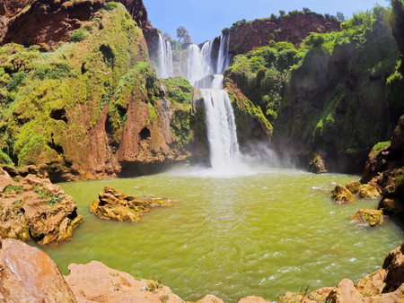 Ouzoud Waterfalls located in the Grand Atlas village of Tanaghmeilt, in the Azilal province in Morocco, Africa photo