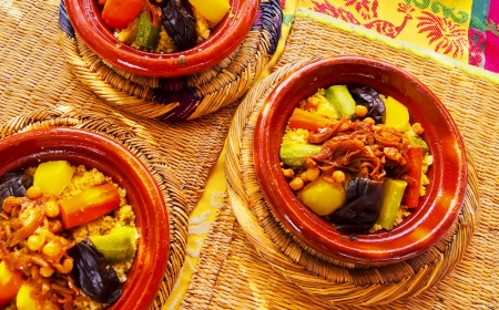 Couscous - traditional moroccan food in Marrakech, Morocco, Africa Stock Photo