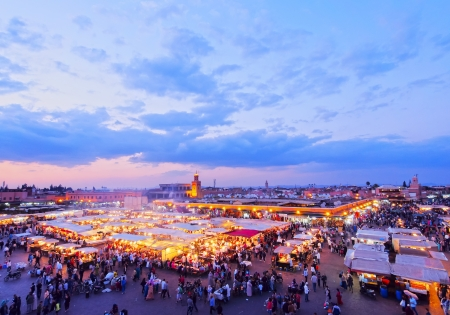 Jamaa el Fna - famous square in Marrakech, Morocco, Africa
