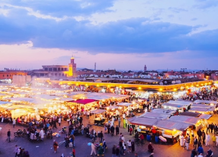 marrakesh: Jamaa el Fna - famous square in Marrakech, Morocco, Africa