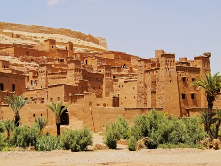 Ait Benhaddou - versterkte stad op de route tussen de Sahara en Marrakech in Marokko, Afrika Stockfoto