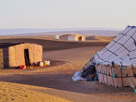 nomadic: Oasis and a camp on Zagora desert in Morocco, Africa
