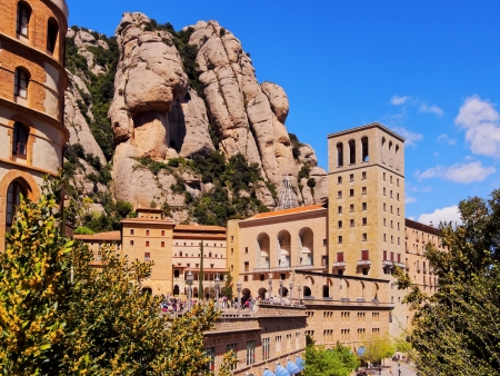 Santa Maria de Montserrat Abbey in Monistrol de Montserrat, Catalonia, Spain. Famous for the Virgin of Montserrat.
