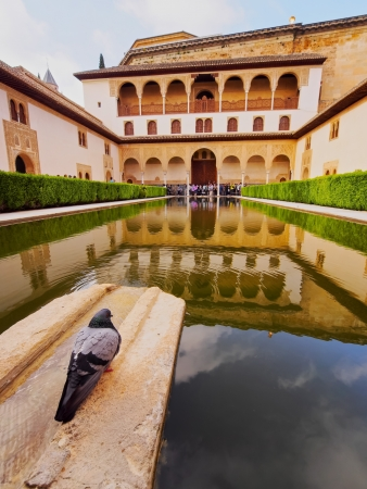 Patio de Arrayanes in Palacios Nazaries of Alhambra in Granada, Andalusia, Spain