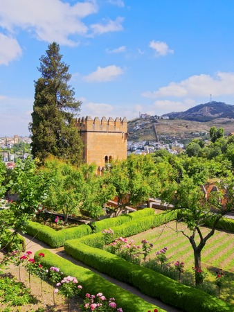 Beautiful Gardens of Alhambra in Granada, Andalusia, Spain