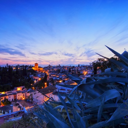 Night view of Granada - beautiful city in Andalusia, Spain photo